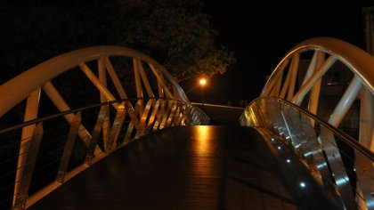 Ennis at night, find this bridge and you will eat well...